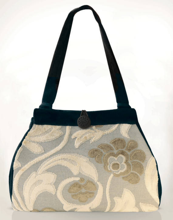 Dragonfly Medium Tote Bag Clotted Cream Velvet front – Julie London Design