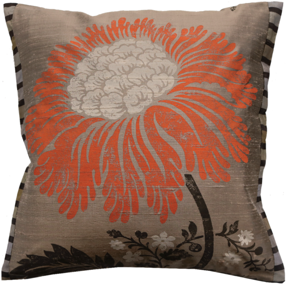 Stylish Bold Mandarine Flower Silk Cushion front – Julie London Design Sydney front