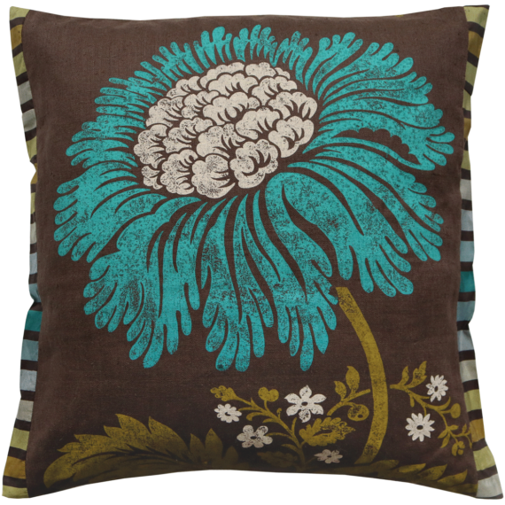 Stylish Bold Aqua Flower Silk Cushion front – Julie London Design Sydney front