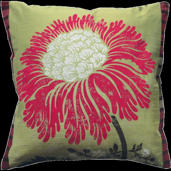 Stylish Bold Red Flower Silk Cushion front – Julie London Design Sydney front