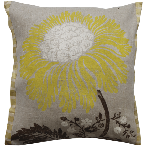 Stylish Bold Lemon Flower Linen Cushion front – Julie London Design Sydney front