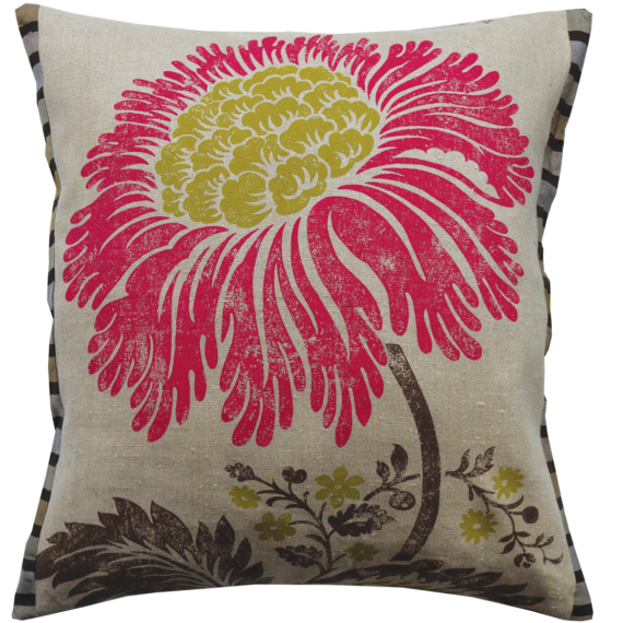 Stylish Bold Crimson Lime Flower Linen Cushion front – Julie London Design Sydney front