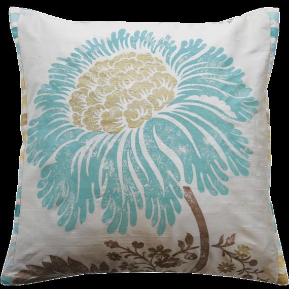 Stylish Teal Flower Silk Cushion front –  Julie London Design Sydney