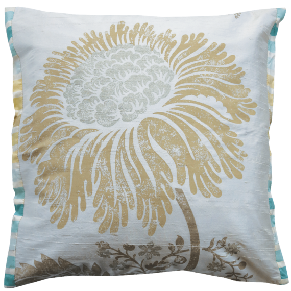 Stylish Champaign Silk Flower Cushion  front – Julie London Design Sydney front