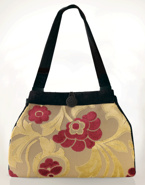 Dragonfly Medium Tote Bag Velvet Pink Flowers front – Julie London Design