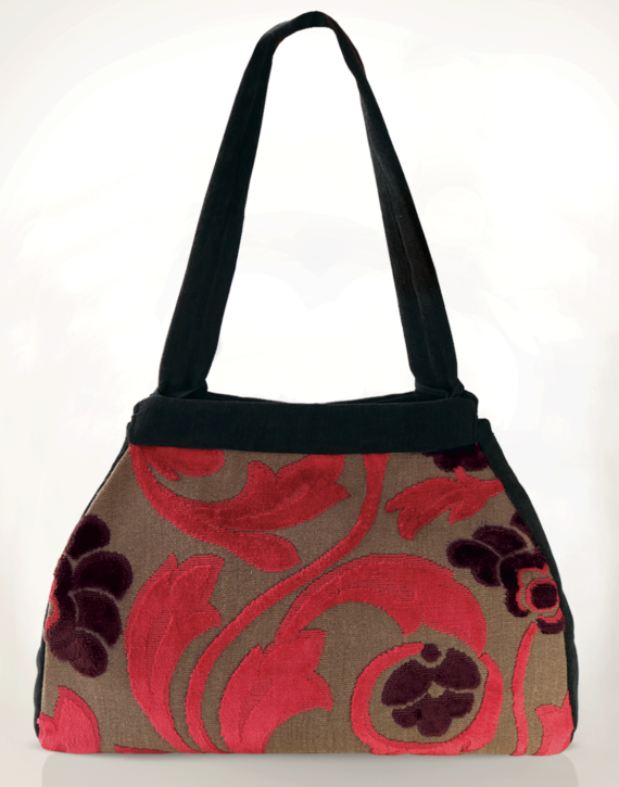 Dragonfly Medium Tote Bag Velvet Crimson Floral back - Julie London Design