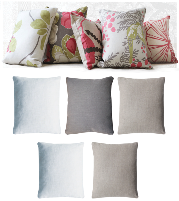 Set of 5 Pink Floral Linen Cushions front - julie london