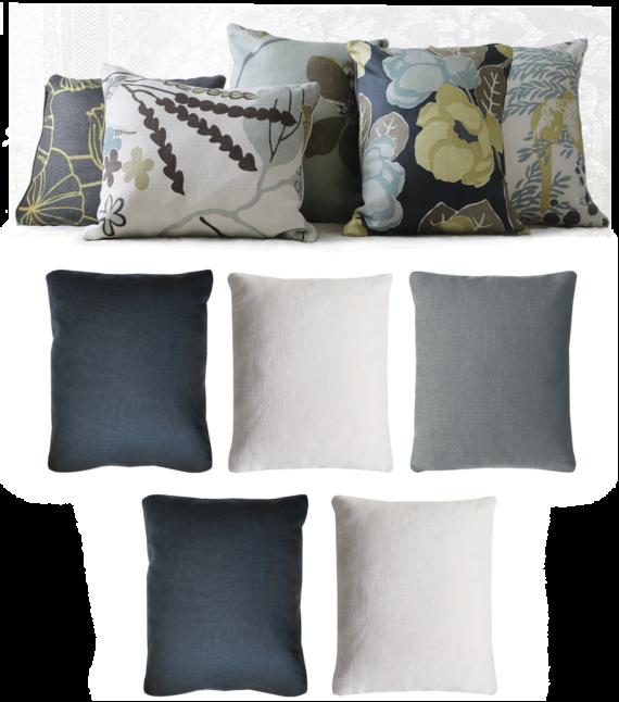 Set of 5 Lemon Midnight Blue Floral Linen Cushions back - julie london