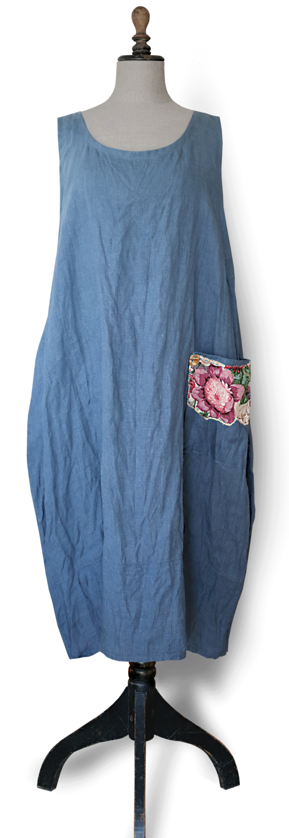 Cornflower blue linen Maxi Dress front-Julie London
