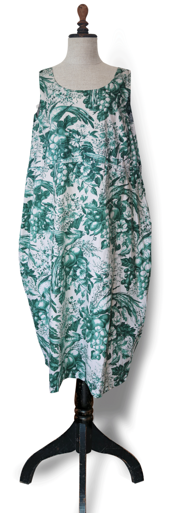Green Toile Cotton Dress – Julie London front