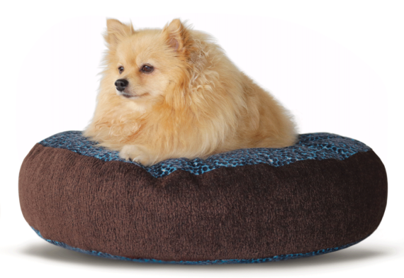 Designer Dog Bed -Babe Medium Blue Brown Velvet - Julie London