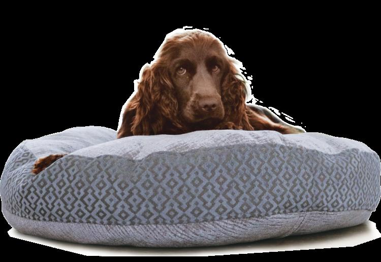 Velvet Dog Bed Large Blue Grey Luxury - Julie London