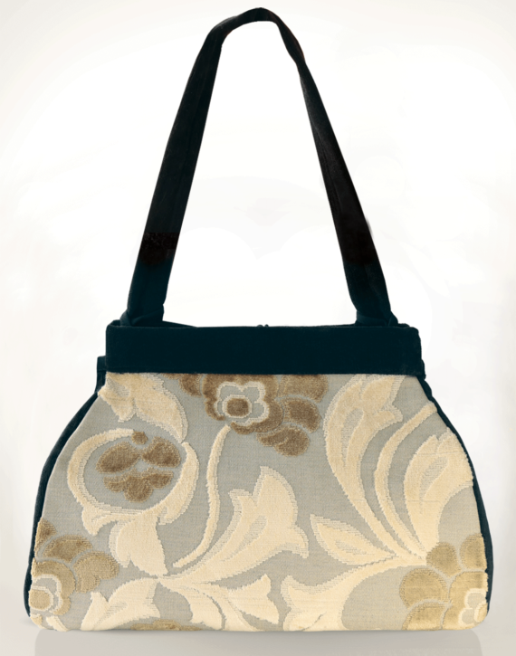 Dragonfly Medium Tote Bag Clotted Cream Velvet back - Julie London Design