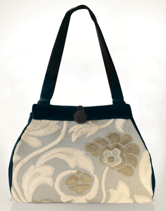 Dragonfly Medium Tote Bag Clotted Cream Velvet front – Julie London Design