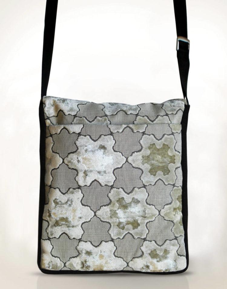 Courier PigeonSatchel Bag -White StarsVelvet back - Julie London Design