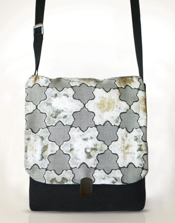 Courier Pigeon Satchel Bag – White Stars Velvet front – Julie London Design