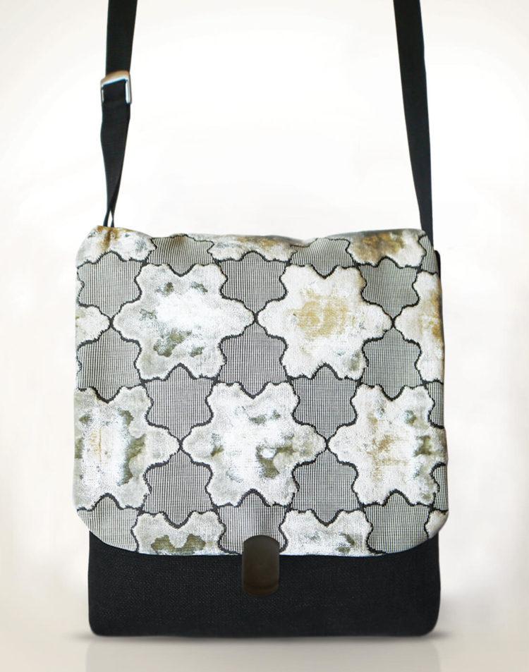 Courier PigeonSatchel Bag -White StarsVelvet front - Julie London Design
