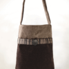 Hummingbird Handbag Chocolate Grey Velvet - Julie London Design