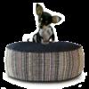 Small Dog Bed - Denim Dot Strip hero - Julie London Design