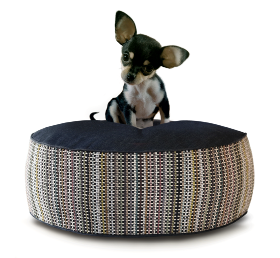 Small Dog Bed – Denim Dot Strip hero – Julie London Design
