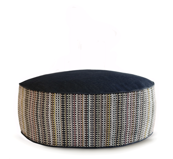 Small Dog Bed - Denim Dot Strip main 2 - Julie London Design
