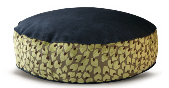 Denim Dog Bed Medium Velvet Green Leaf front – Julie London Design
