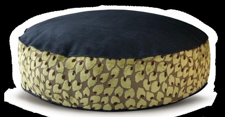 Denim Dog Bed Medium Velvet Green Leaf front - Julie London Design
