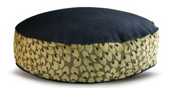Denim Dog Bed Medium Velvet Green Leaf back - Julie London Design