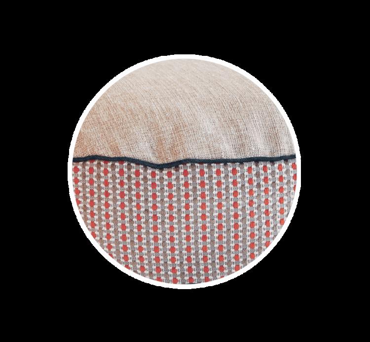 Luxury Dog Bed Medium Orange Cream close up - Julie london Design