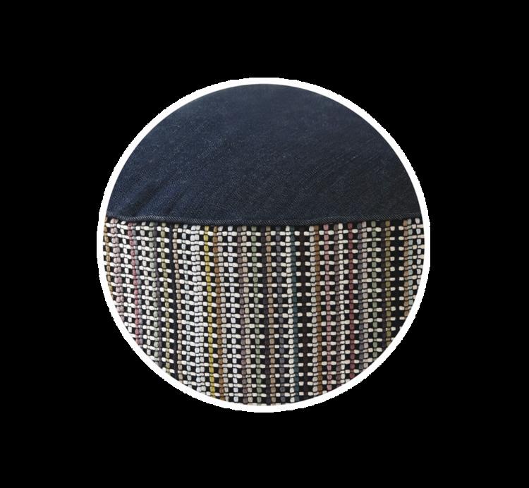 Denim Dog Bed Medium Stripes close up - julie London