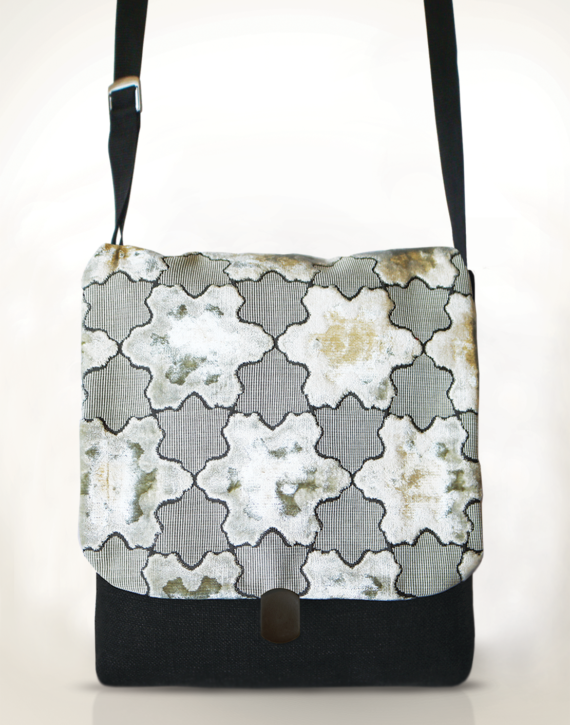 Courier Pigeon satchel front – white velvet star pattern charcoal grey base