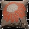 Stylish Bold Mandarine Flower Silk Cushion front - Julie London Design Sydney front