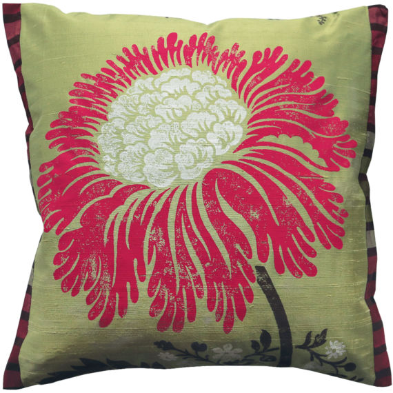 Stylish Bold Red Flower Silk Cushion front – Julie London Design Sydney front