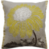 Stylish Bold Lemon Flower Linen Cushion front - Julie London Design Sydney front