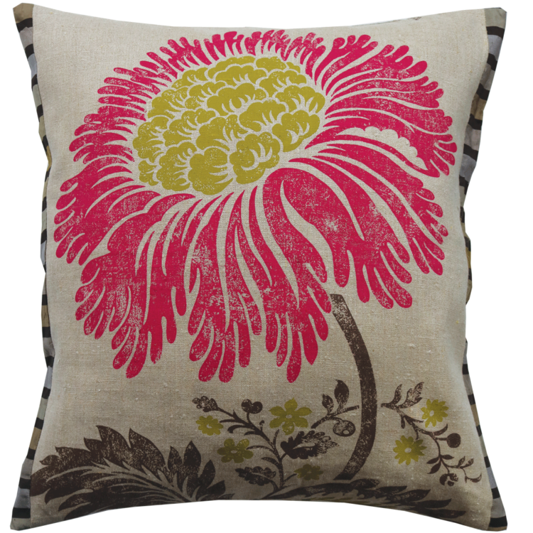 Stylish Bold Crimson Lime Flower Linen Cushion front - Julie London Design Sydney front