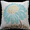 Stylish Teal Flower Silk Cushion front - Julie London Design Sydney