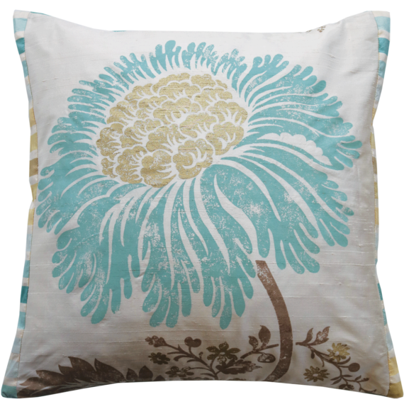 Stylish Teal Flower Silk Cushion front –  Julie London Design Sydney