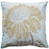 Stylish Champaign Silk Flower Cushion  front - Julie London Design Sydney front
