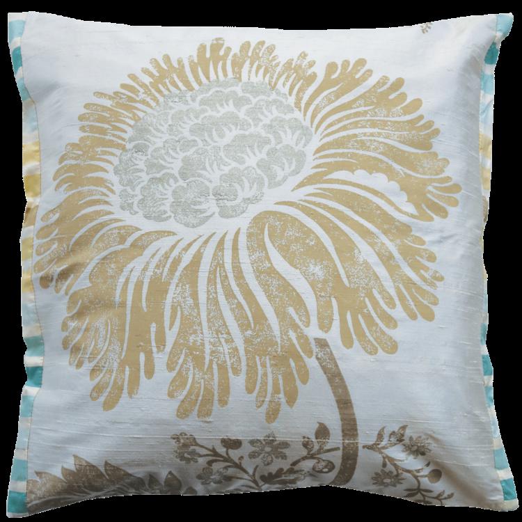Stylish Champaign Silk Flower Cushion front - Julie London Design Sydney front