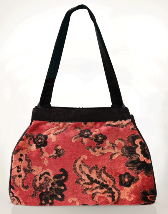 Dragonfly Medium Tote Bag Vintage Velvet back - julie London Design