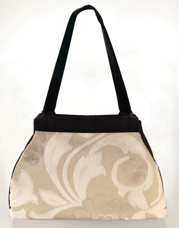 Dragonfly Medium Tote Bag Antique Cream Swirl back - Julie London Design