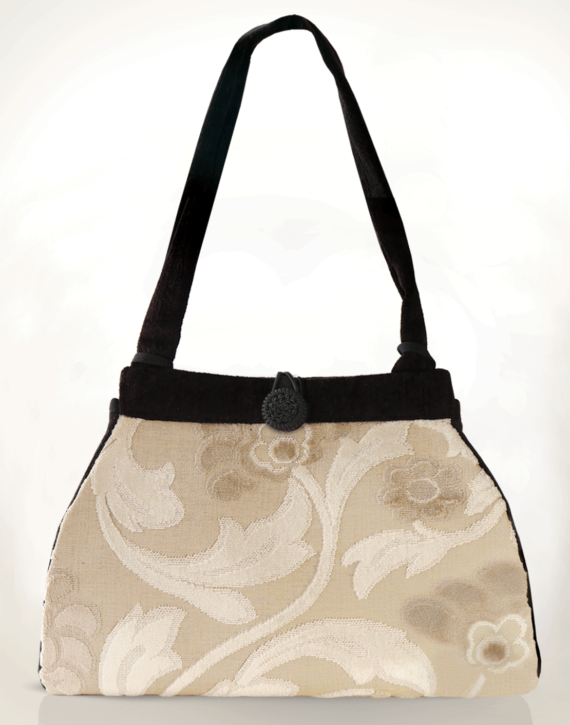 Dragonfly Medium Tote Bag Antique Cream Swirl front – Julie London Design