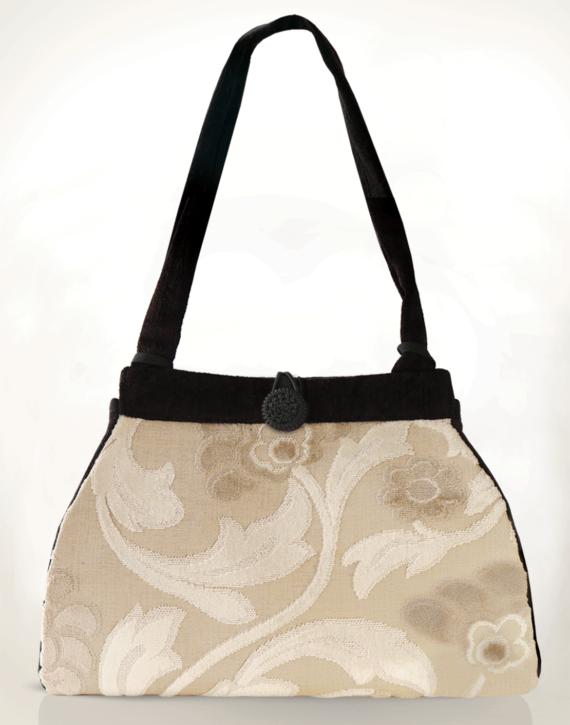 Dragonfly Medium Tote Bag Antique Cream Swirl front – Julie London Design