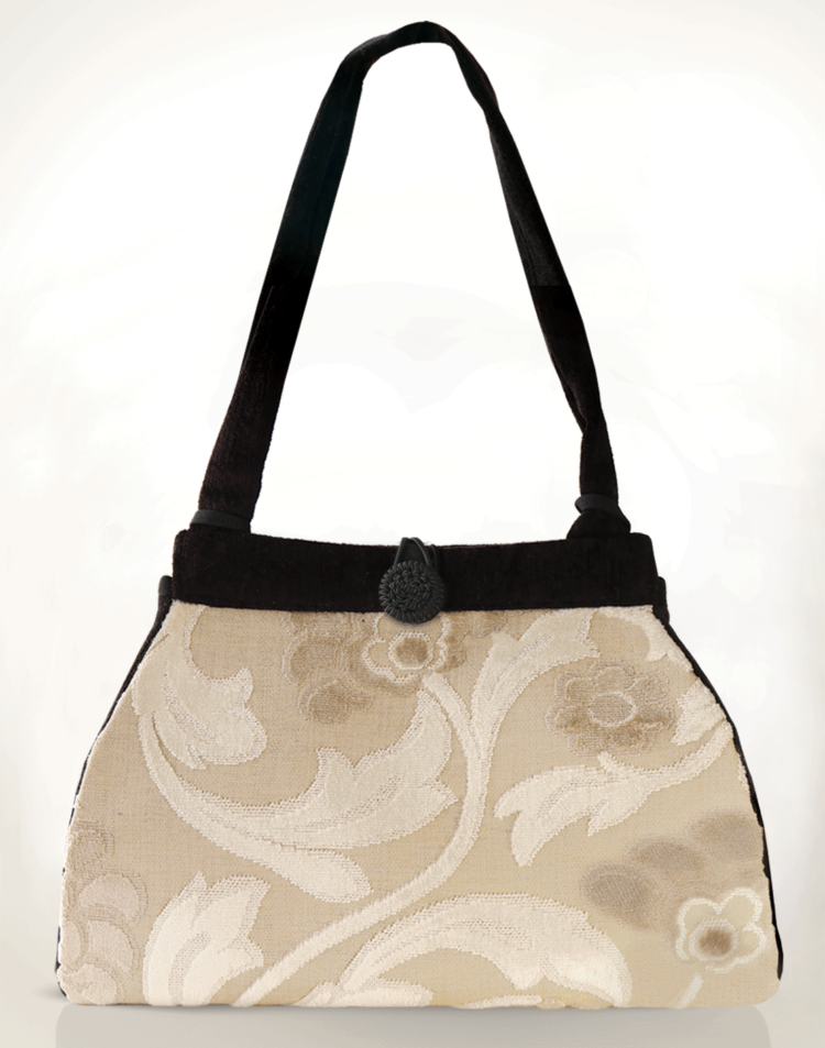 Dragonfly Medium Tote Bag Antique Cream Swirl front - Julie London Design