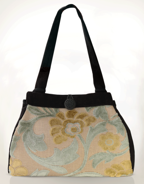 Dragonfly Medium Tote Bag Ice Blue Velvet front – julie London Design