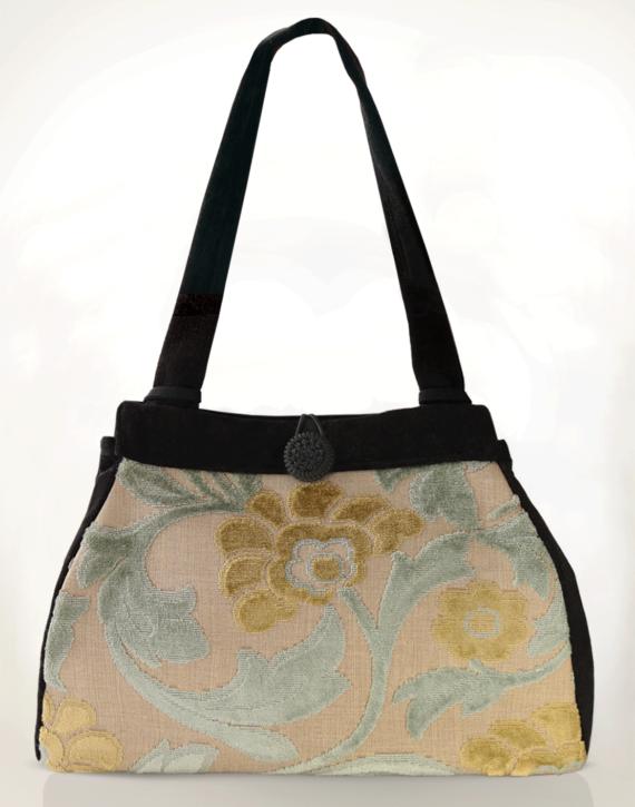 Dragonfly Medium Tote Bag Ice Blue Velvet front – julie London Design