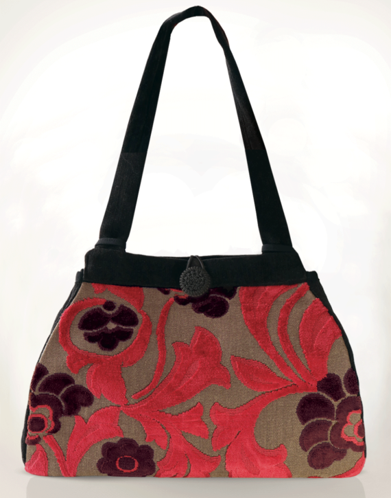 Dragonfly Medium Tote Bag Velvet Crimson Floral front – Julie London design