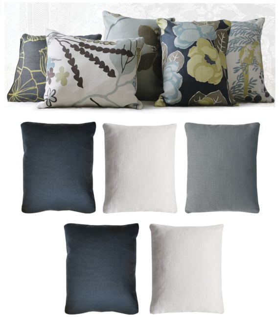 Set of 5 Lemon Midnight Blue Floral Linen Cushions back - julie london