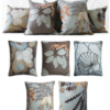 Set of 5 Tangerine Duck Egg Blue Floral Linen Cushions front - julie london