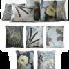 Set of 5 Lemon Midnight Blue Floral Linen Cushions front - julie london